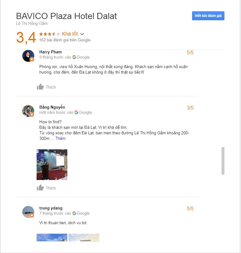 bảng đánh giá khách sạn bavico plaza Đà Lạt