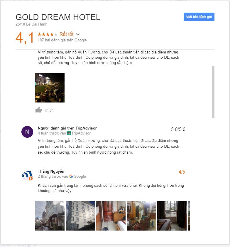 đánh giá khách sạn gold dream Đà Lạt