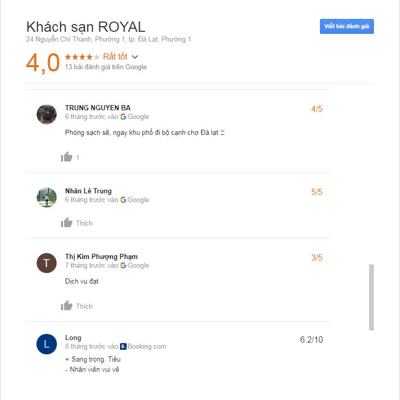 đánh giá khách sạn royal đà lạt