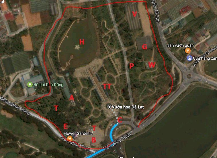 bản đồ tham quan vườn hoa đà lạt