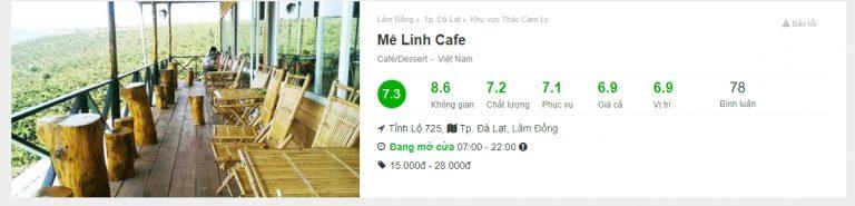 đánh giá quán cafe mê linh đà lạt