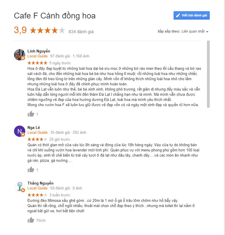 review cafe f cánh đồng hoa đà lạt