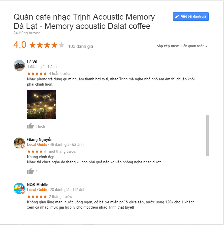 review memory đà lạt phố