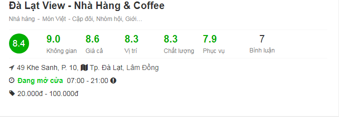 review coffee đà lạt view