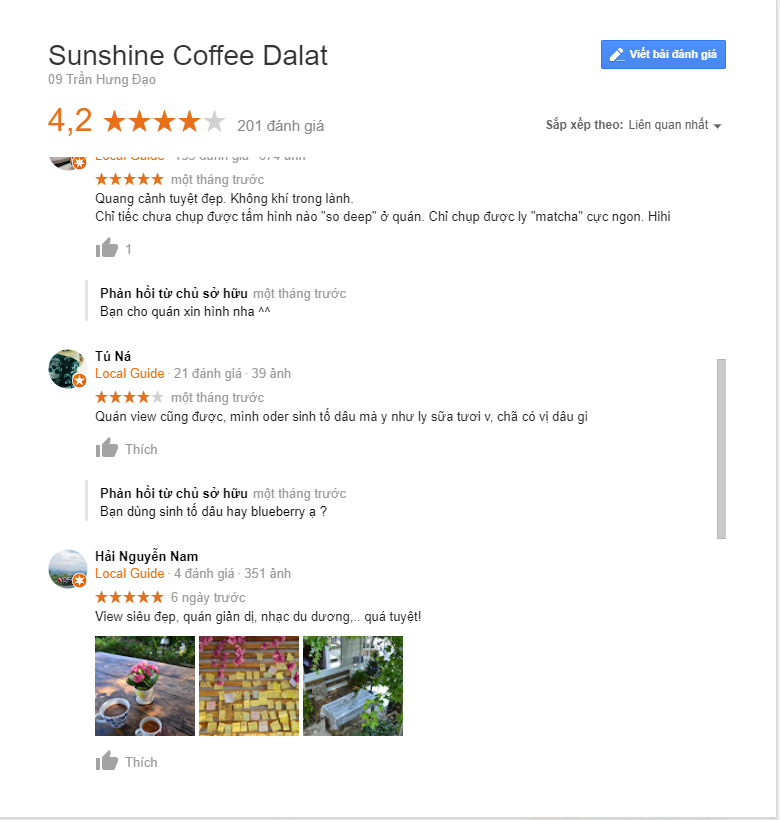 review sunshine coffee dalat