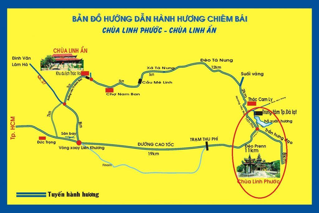 bản đồ hướng dẫn đường đi đến chùa linh phước