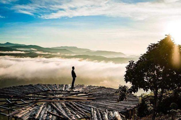review cây cầu gỗ săn mây ở đà lạt