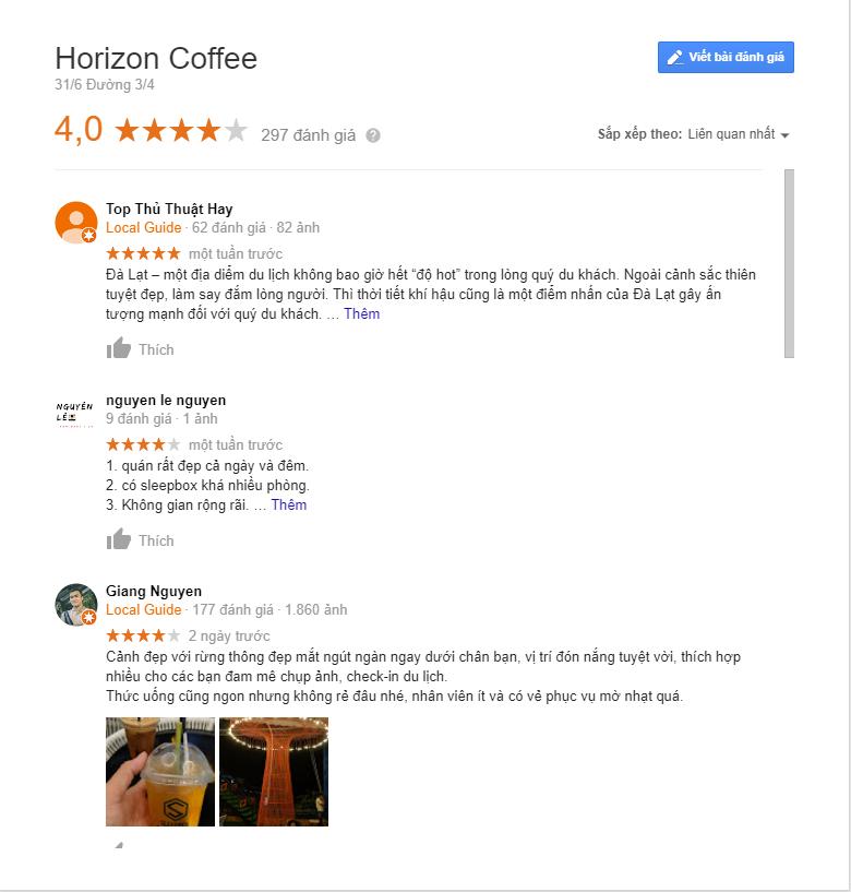 đánh giá horizon coffee đà lạt