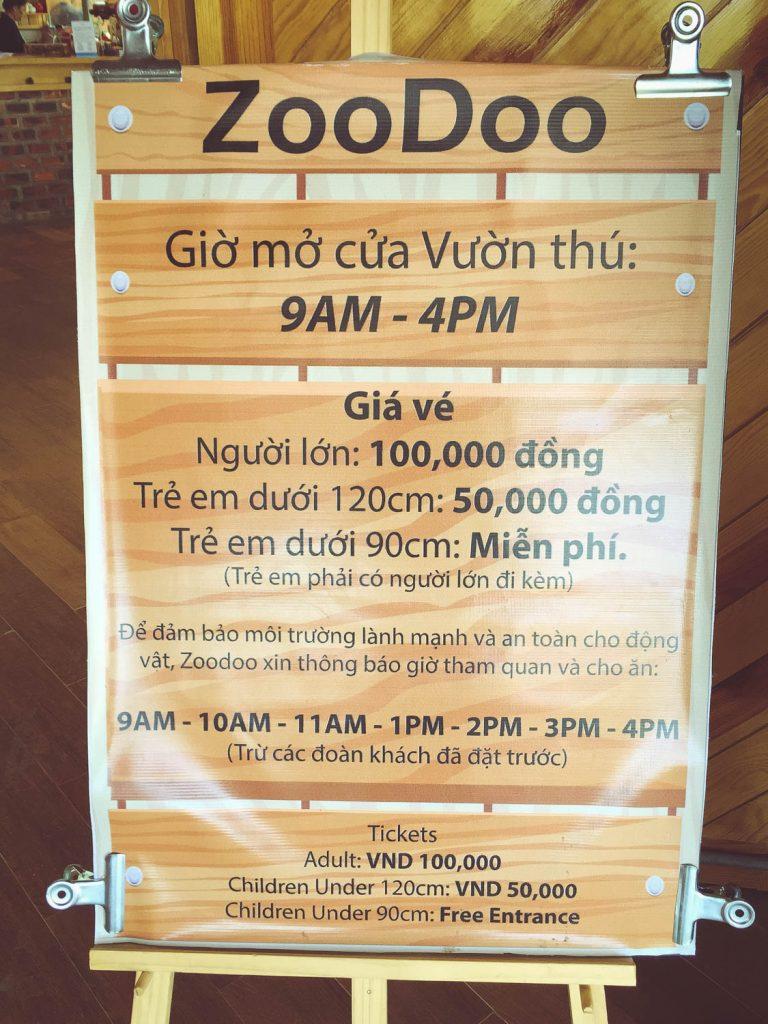 sở thú zoodoo giờ mở cửa