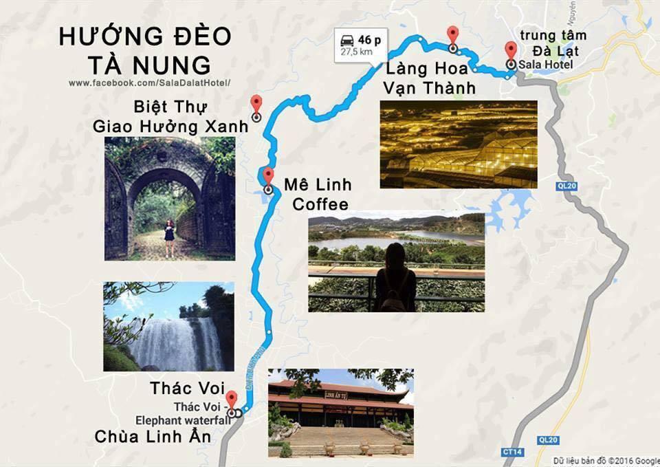 bản đồ đường đi quán cà phê Mê Linh Đà Lạt