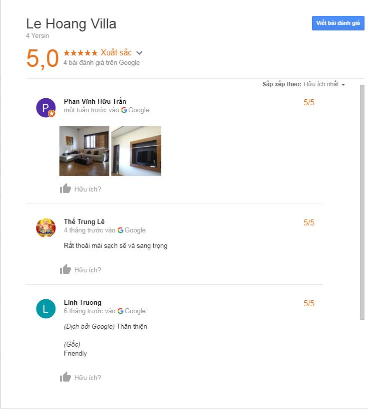Đánh giá tại villa Lê Hoàng Đà Lạt